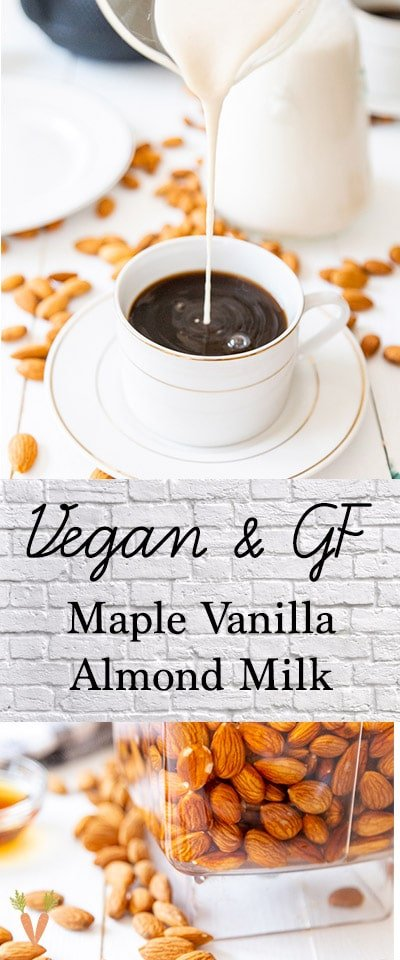 A Pinterest pin for homemade maple vanilla almond milk with two pictures of the milk.