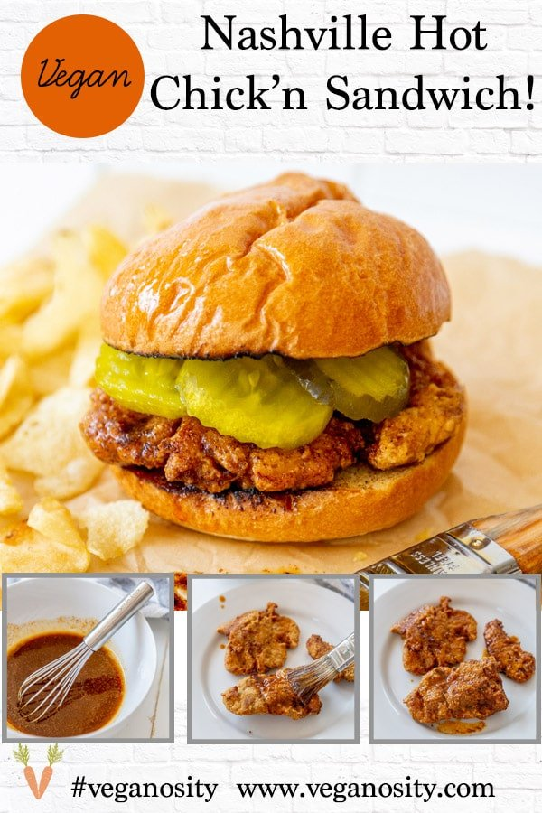 A PInterest pin for vegan Nashville Hot Chicken with several pictures of the chicken.