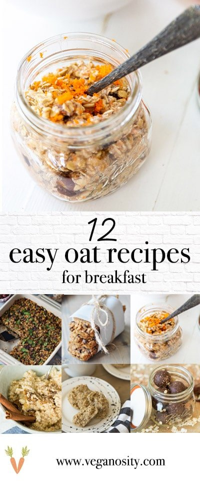A PInterest pin for oatmeal recipes with two pictures of oat recipes.