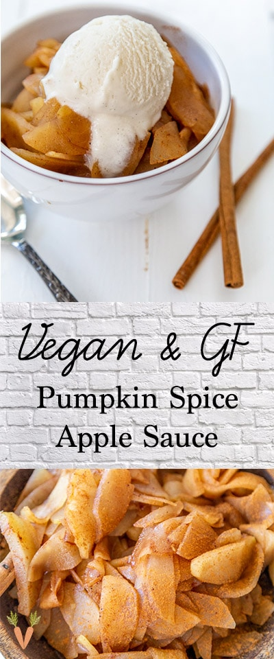 A Pinterest pin for Homemade Pumpkin Spice Applesauce with two pictures of the apple sauce.