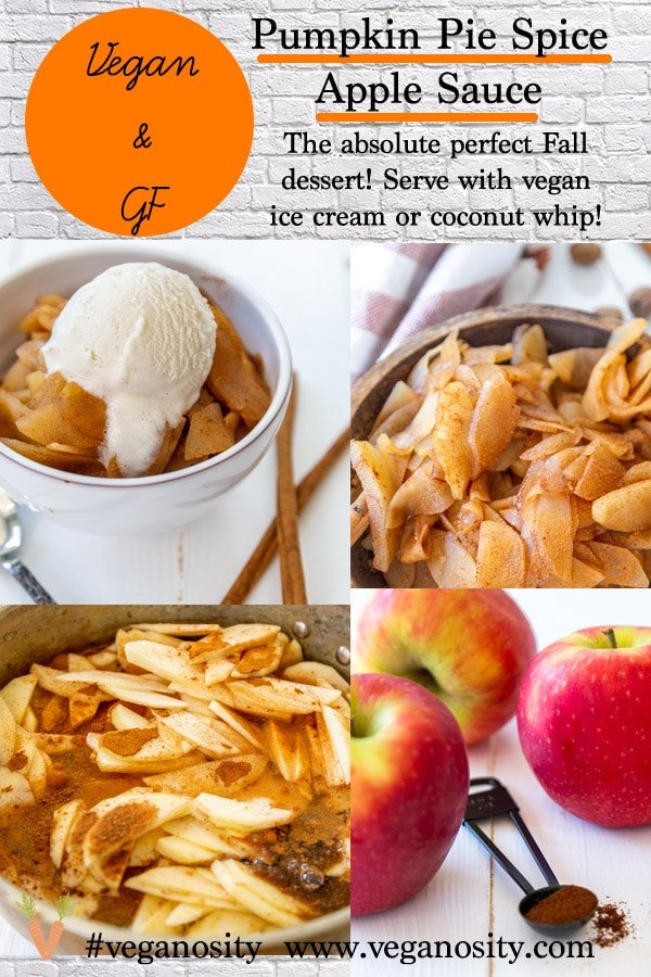 A PInterest pin for Homemade Pumpkin Spice Apple Sauce with four pictures of the applesauce.