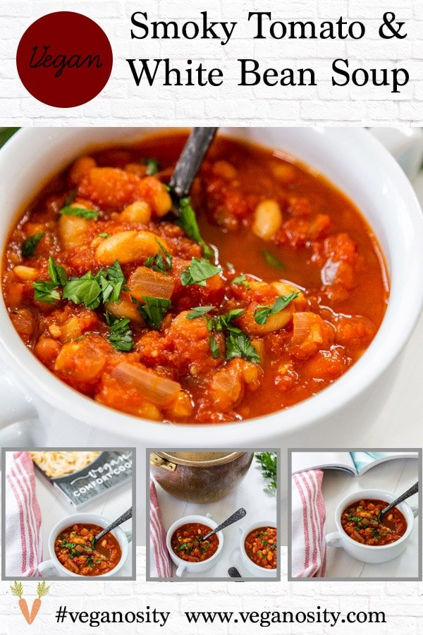 A Pinterest pin for Tomato and White Bean Soup with pictures of the soup.