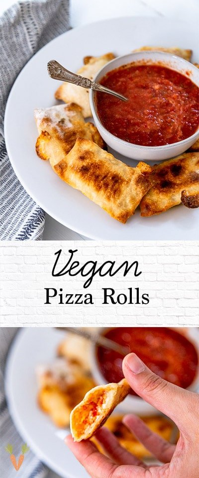 A PInterest pin for vegan pizza rolls with two pictures of the rolls.