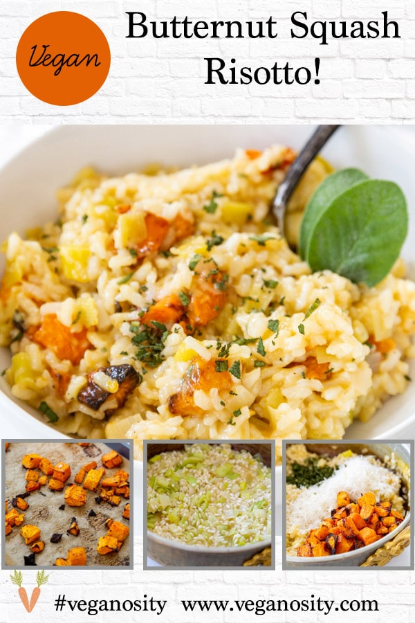 A Pinterest pin for vegan squash risotto with four pictures of the risotto.