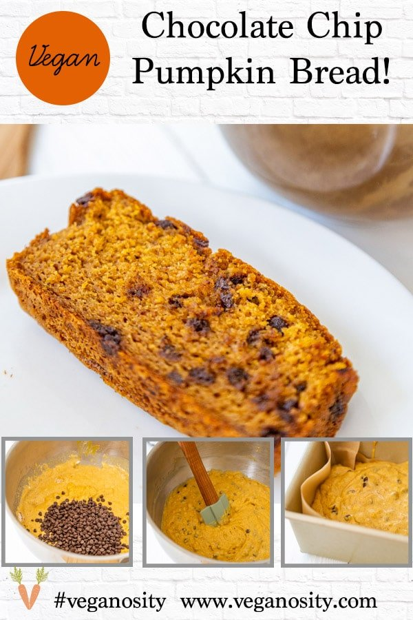 A PInterest pin for vegan pumpkin chocolate chip bread with four pictures of the bread.