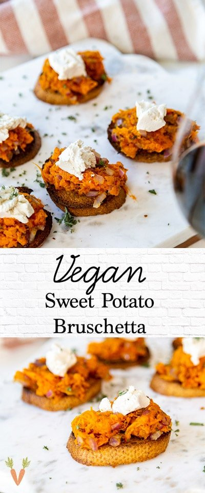 A Pinterest pin for vegan sweet potato bruschetta with 2 pictures of the appetizer.