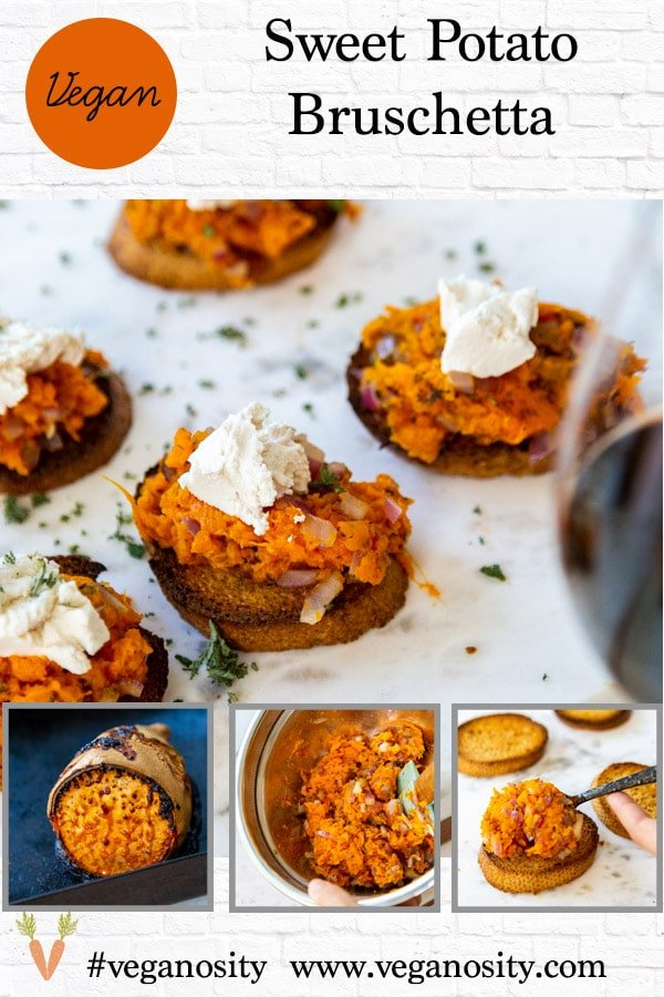 A Pinterest pin for vegan sweet potato bruschetta with four pictures of the appetizer.