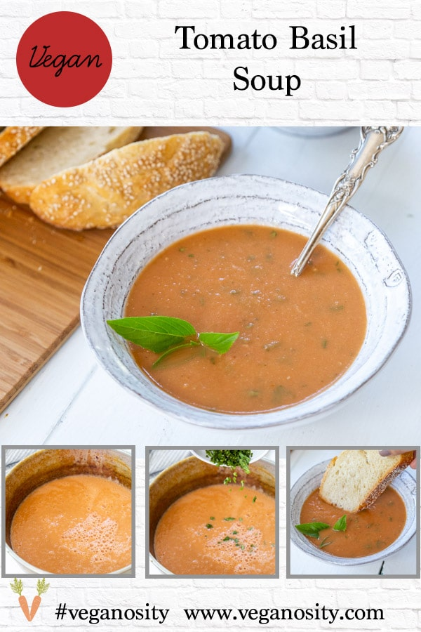 A Pinterest pin for roasted tomato soup with 4 pictures of the soup.