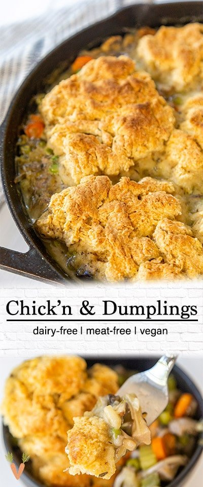 A Pinterest pin for vegan chicken and biscuits with 2 pictures of the recipe.