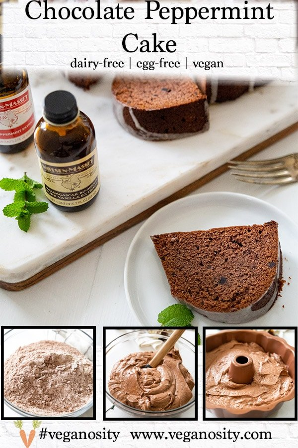 A Pinterest pin for chocolate peppermint pound cake with 4 pictures of the cake.