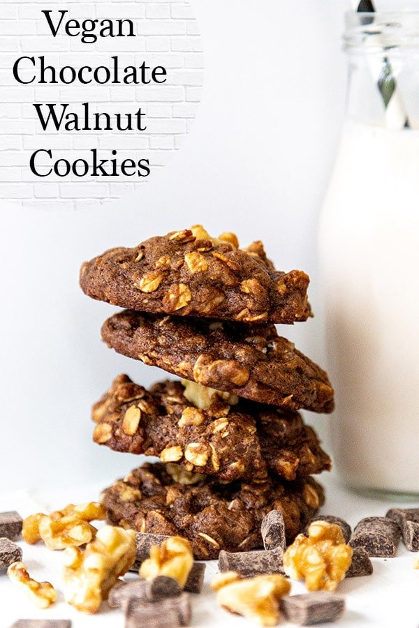 double chocolate cookies filled with walnuts, vegan chocolate, and chocolate chips