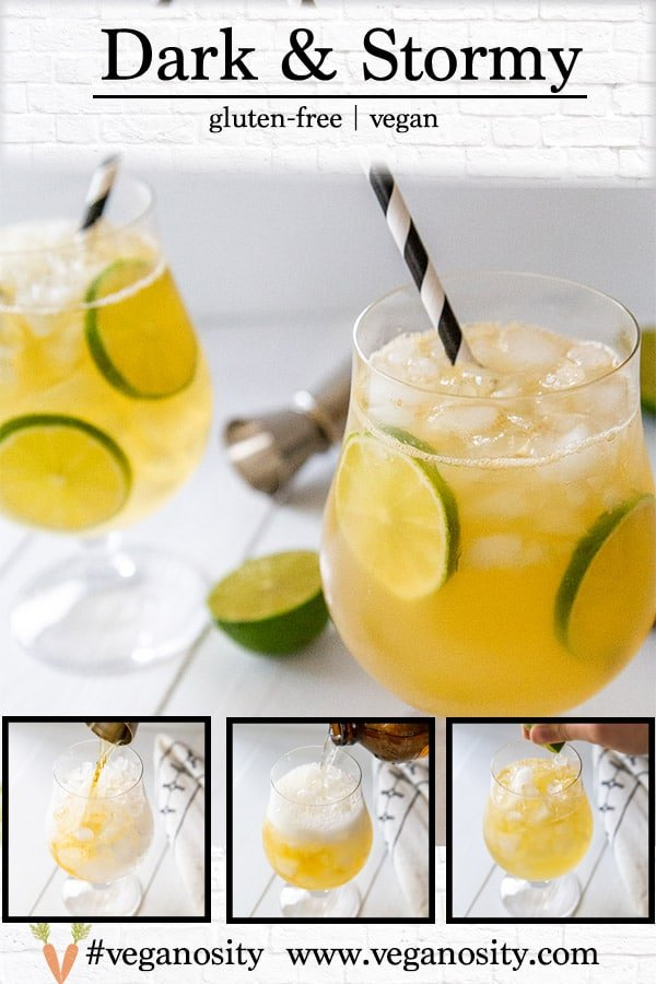 A PInterest pin for a dark and stormy cocktail with 4 pictures of the drink.