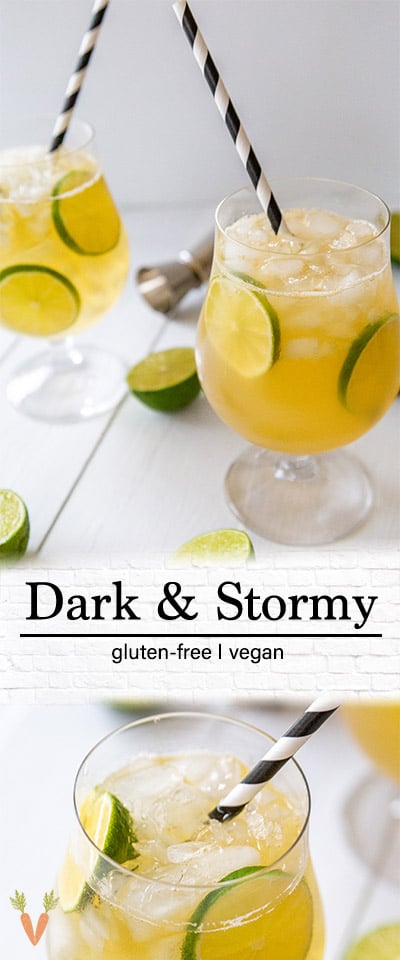 A PInterest pin for a dark and stormy cocktail with 2 pictures of the drink.