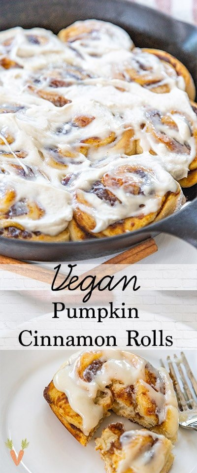 A Pinterest pin for vegan pumpkin cinnamon rolls with 2 pictures of the rolls.