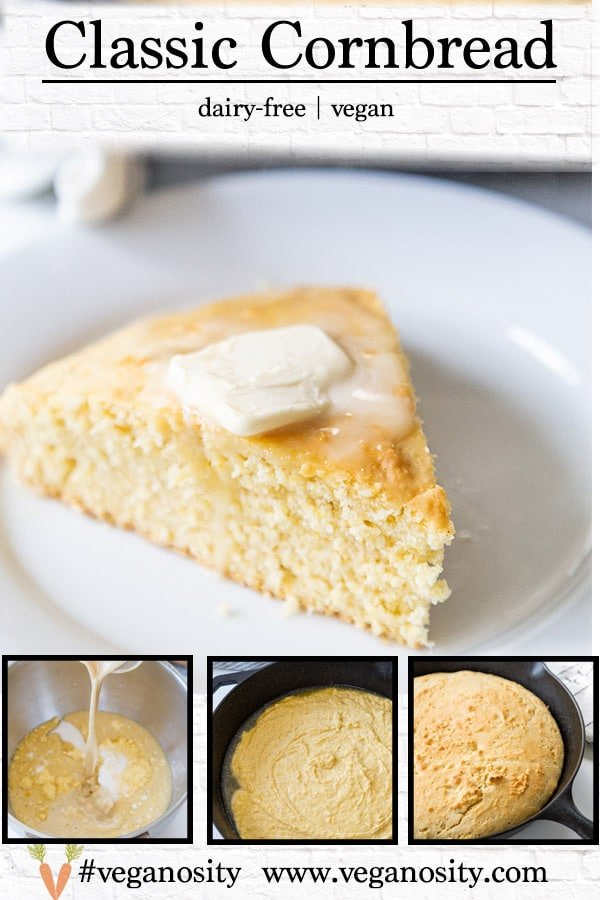 A PInterest pin for classic vegan cornbread with four pictures of the cornbread.