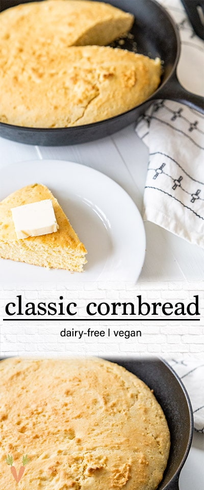 A PInterest pin for classic vegan cornbread with 2 pictures of the cornbread.