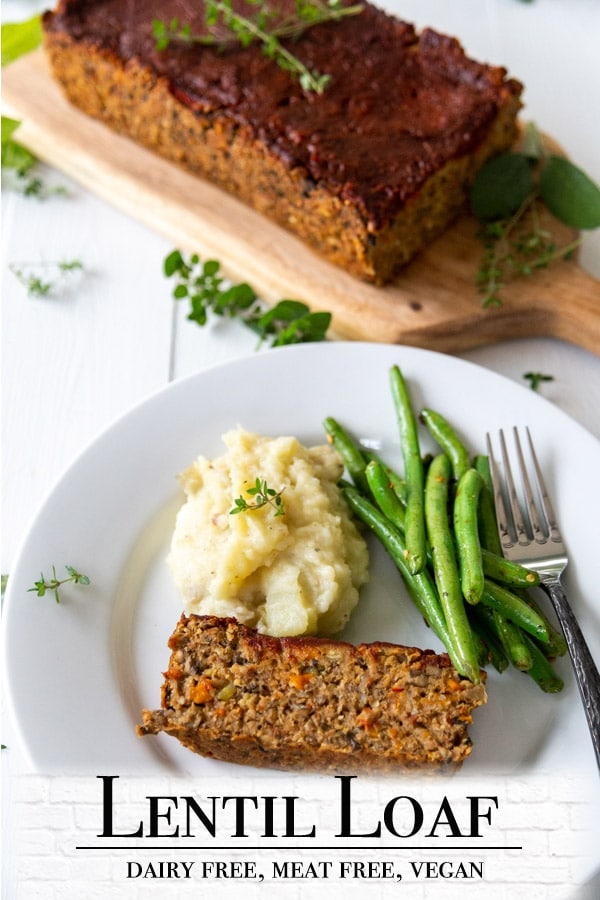 A Pinterest pin for a vegan lentil loaf with two pictures of the loaf.