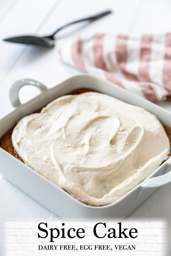 A Pinterest pin for spice cake with cream cheese frosting and a picture of the cake frosted in the pan.