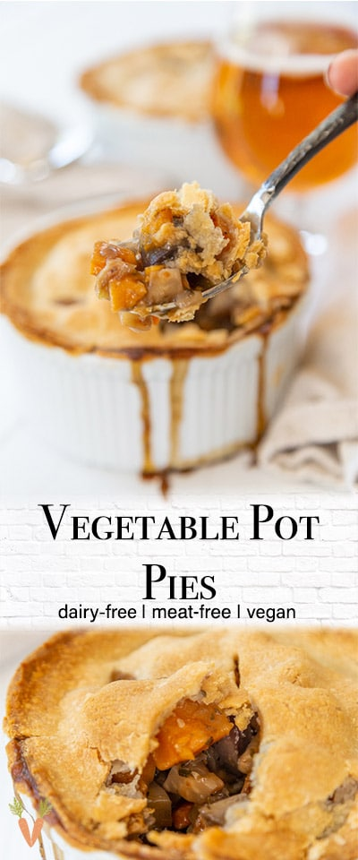 A Pinterest pin for vegetable pot pies with 2 pictures of the pot pies.