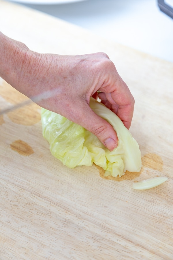 A hand holding a cabbage leaf with part of the hard stem cut off of it.