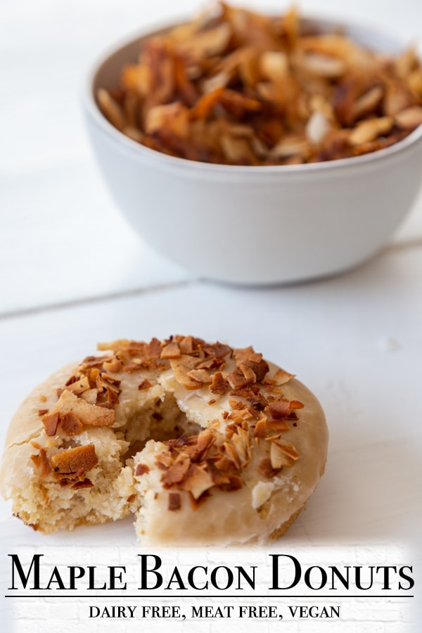 A Pinterest pin for vegan maple glazed bacon doughnuts with one picture of the doughnut.