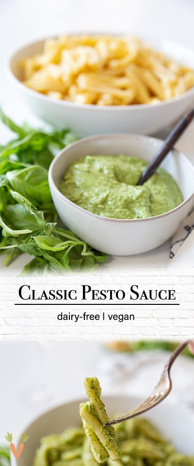 A Pinterest pin for vegan pesto with two pictures of the pesto.