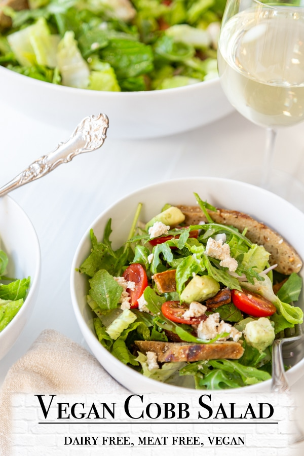 A PInterest pin for vegan Cobb salad with a picture of the salad.
