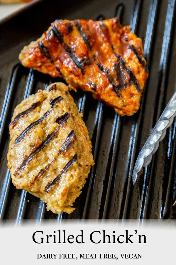 A PInterest pin for vegan grilled chicken with a picture of a piece of grilled chicken and a piece of chicken with BBQ sauce on a grill