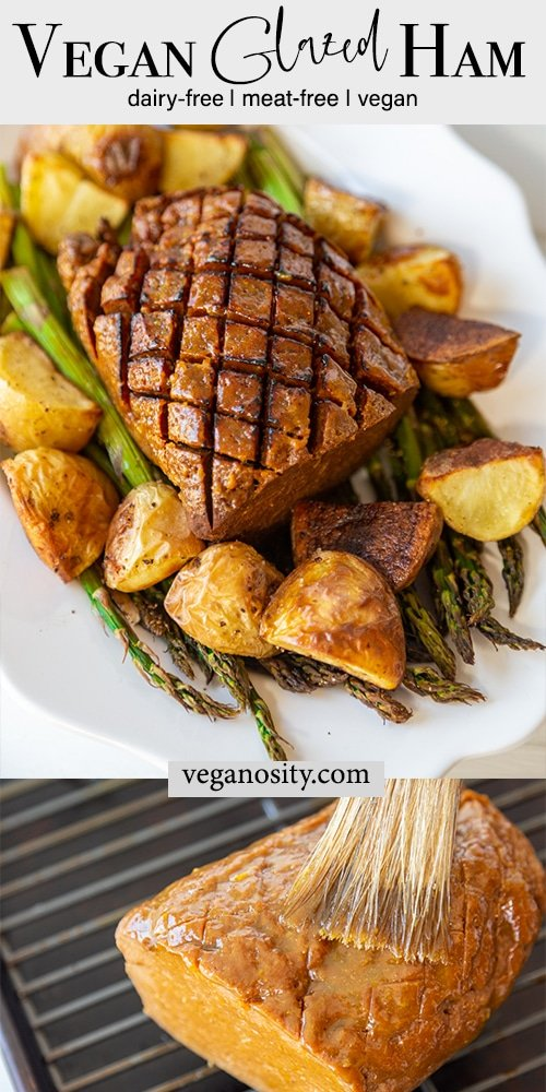 A Pinterest pin for vegan ham with 2 pictures of the ham.