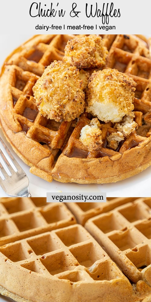 A PInterest pin for vegan chicken & waffles with a picture of a Belgian waffle and cauliflower chicken on top.