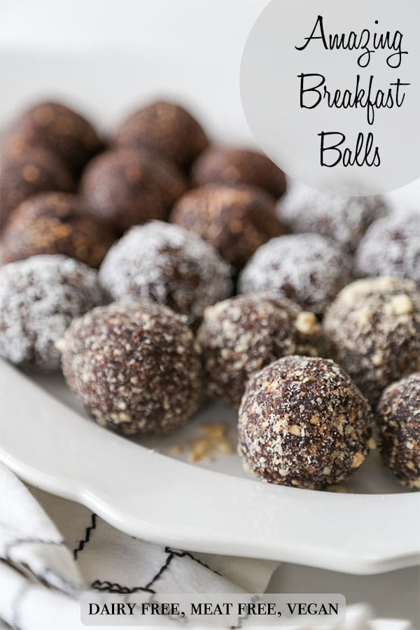 A Pinterest pin for Amazing Breakfast Balls with a white platter of chocolate balls.