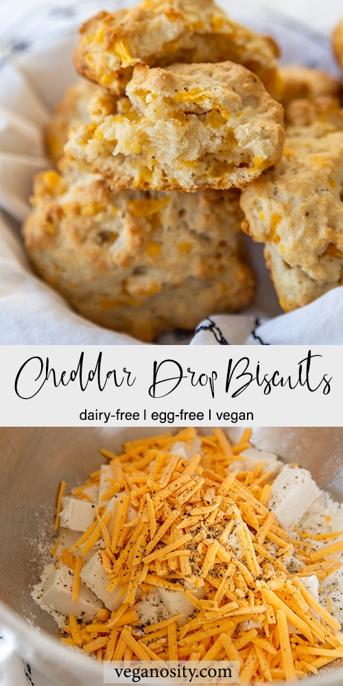 A Pinterest pin for vegan cheddar drop biscuits with a picture of the baked biscuits in a basket and a picture of the ingredients in a bowl.