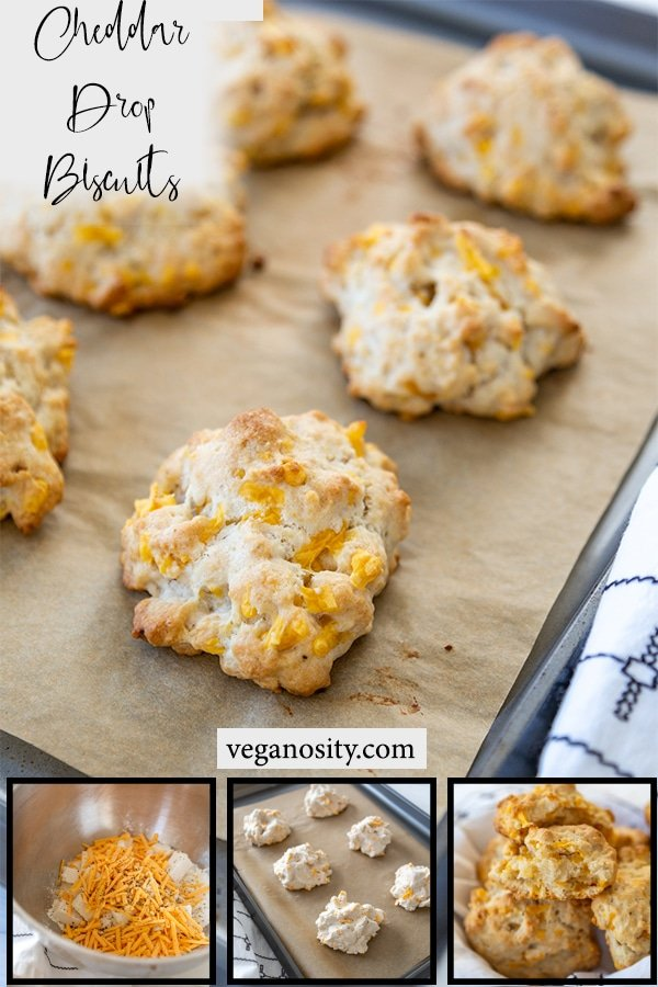 A Pinterest pin for vegan cheddar drop biscuits with a picture of the baked biscuits on a baking sheet and 3 process shots of the mix, the raw biscuits, and the inside of the baked biscuit.