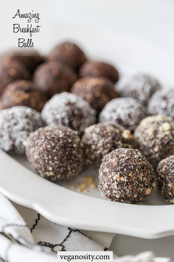 A PInterest pin for breakfast balls with a picture of a white scalloped edge platter with chocolate breakfast balls.