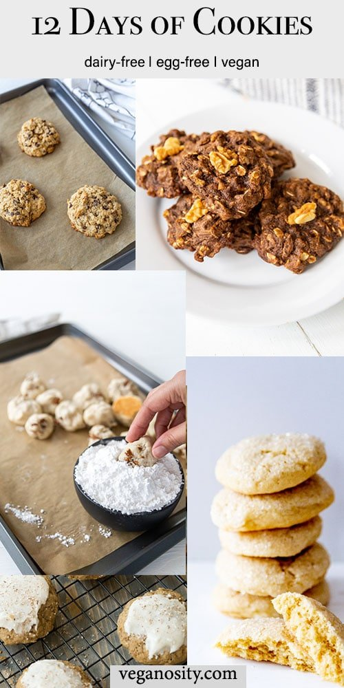 A Pinterest pin for 12 vegan cookies roundup with 4 pictures of different kinds of cookies.