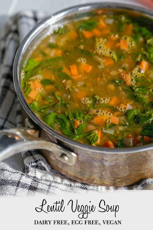 A PInterest pin with a pot of veggie and lentil soup.