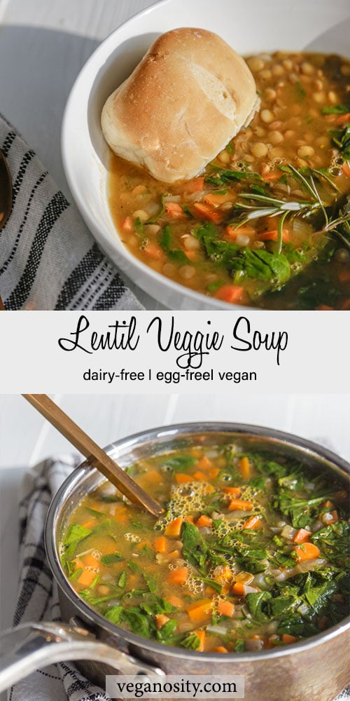A PInterest pin for lentil veggie soup with a picture of the soup in a bowl with bread and a pot of soup.