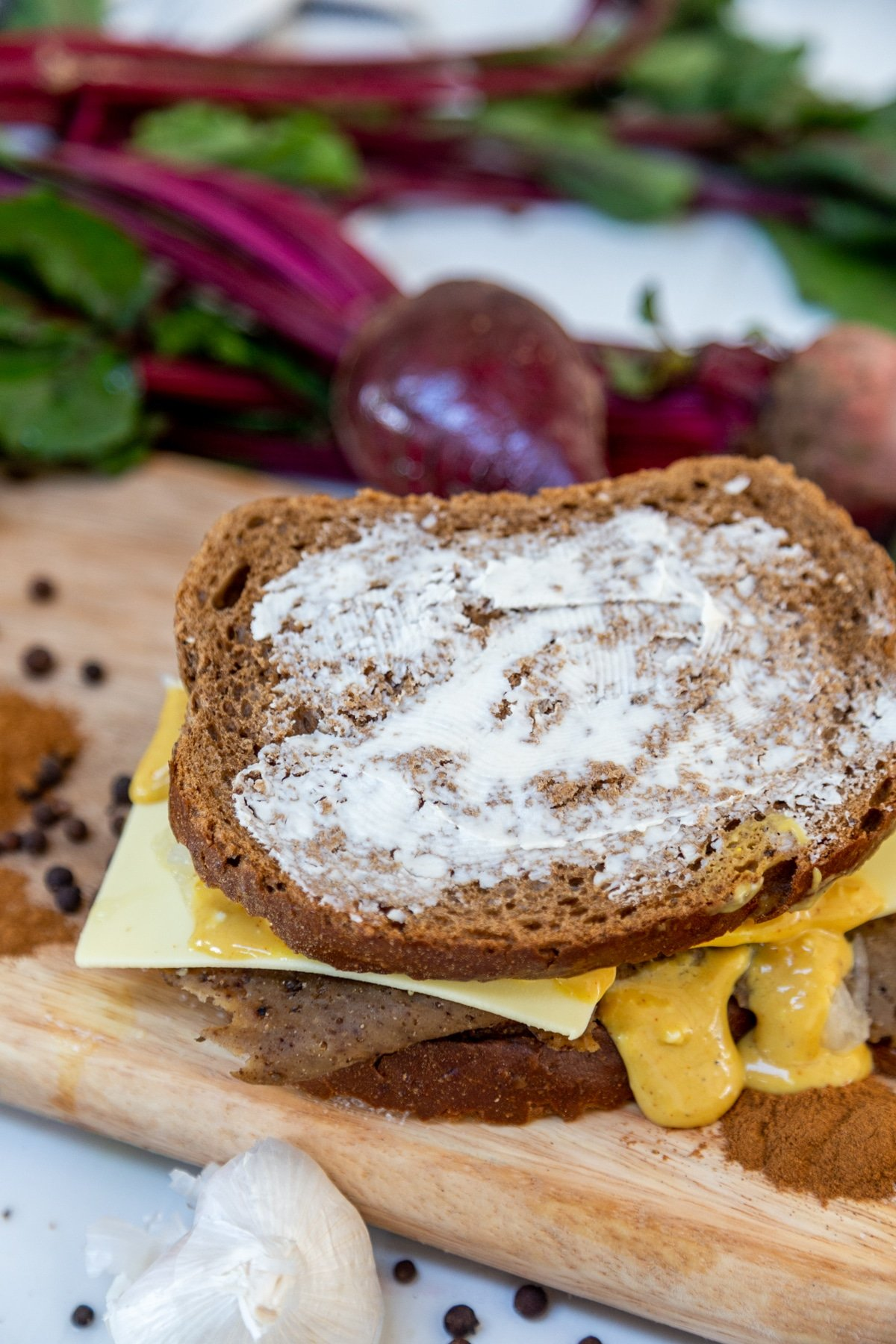 A Reuben sandwich before it's grilled.
