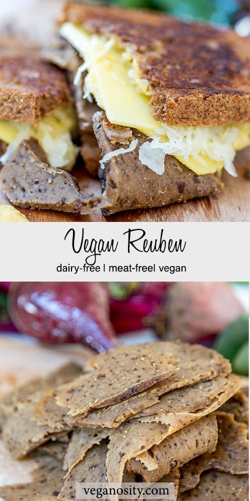 A Pinterest pin for a vegan Reuben with a picture of the sandwich and a picture of the seitan corned beef.