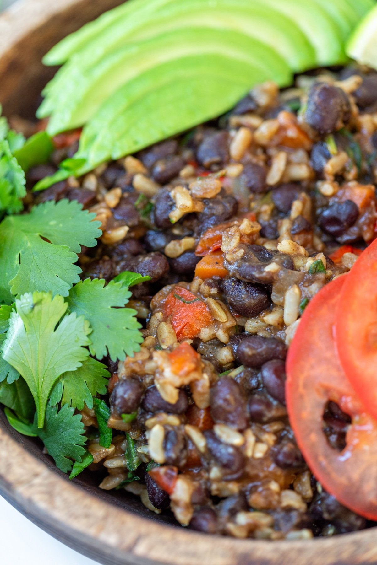 A close up picture of black beans, rice, and vegetables with slices of tomatoes and avocado and fresh cilantro leaves.
