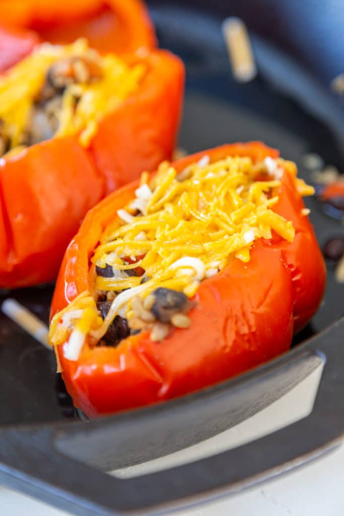 2 stuffed red bell peppers with melted cheddar cheese on top.