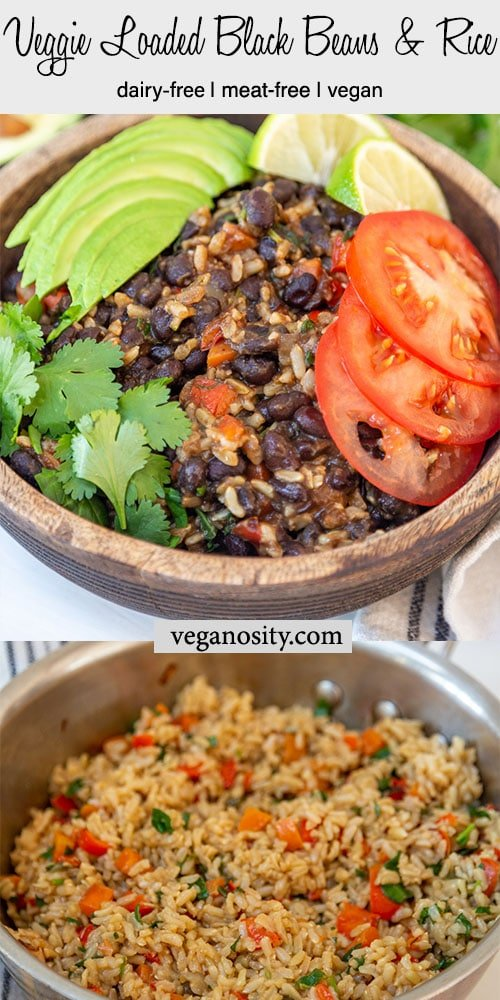 A Pinterest pin for black beans and rice with a picture of the recipe in a pan and one of it in a wooden bowl with avocado and tomato slices.