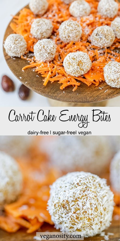 A Pinterest pin for carrot cake energy bites with a picture of the bite rolled in coconut and a platter of the bites on a bed of shredded carrots.