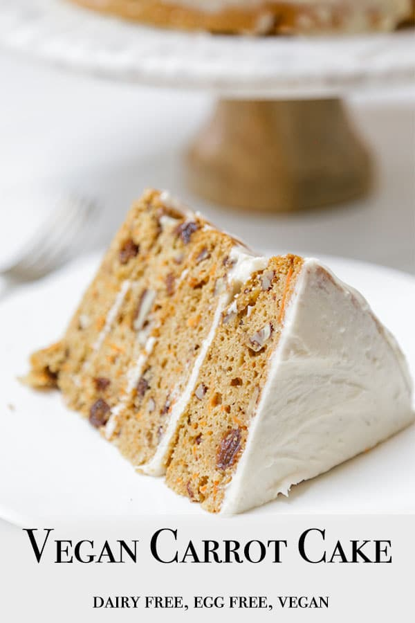A PInterest pin for vegan carrot cake with a picture of a slice of the cake on a white plate.